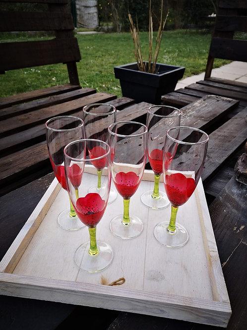 """Bouquet 6 Flûtes à champagne """"Jardin de Coquelicots"""""""