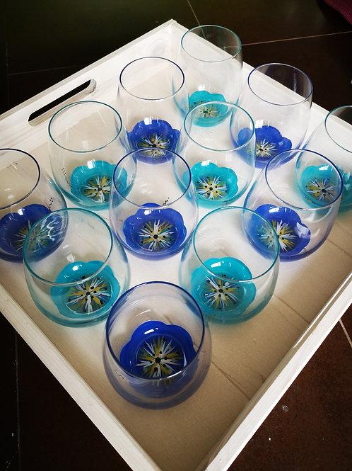 """Bouquet 6 Verres apéritif / eau fleurs """"DUO de Bleu"""""""