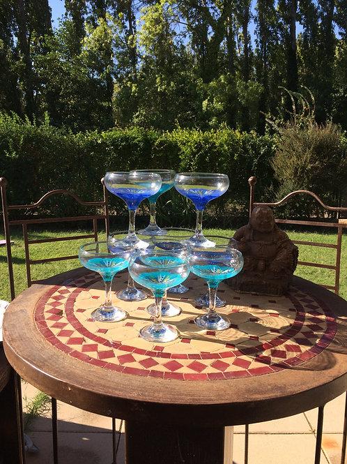 """Bouquet 6 Coupes à l'ancienne """"Fleurs Bleu Azur"""" et variantes"""