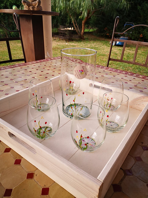 Ensemble Vase et 6 verres eau/aperitif Jardin de marguerites et Coccinelle
