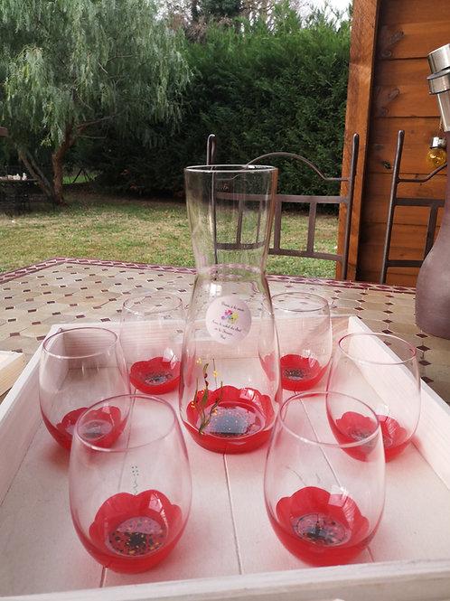 Ensemble carafe et 6 verres eau/aperitif  Jardin de Coquelicot