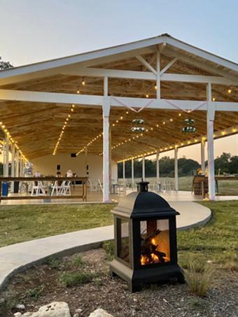 WindSong Pavilion at dusk.