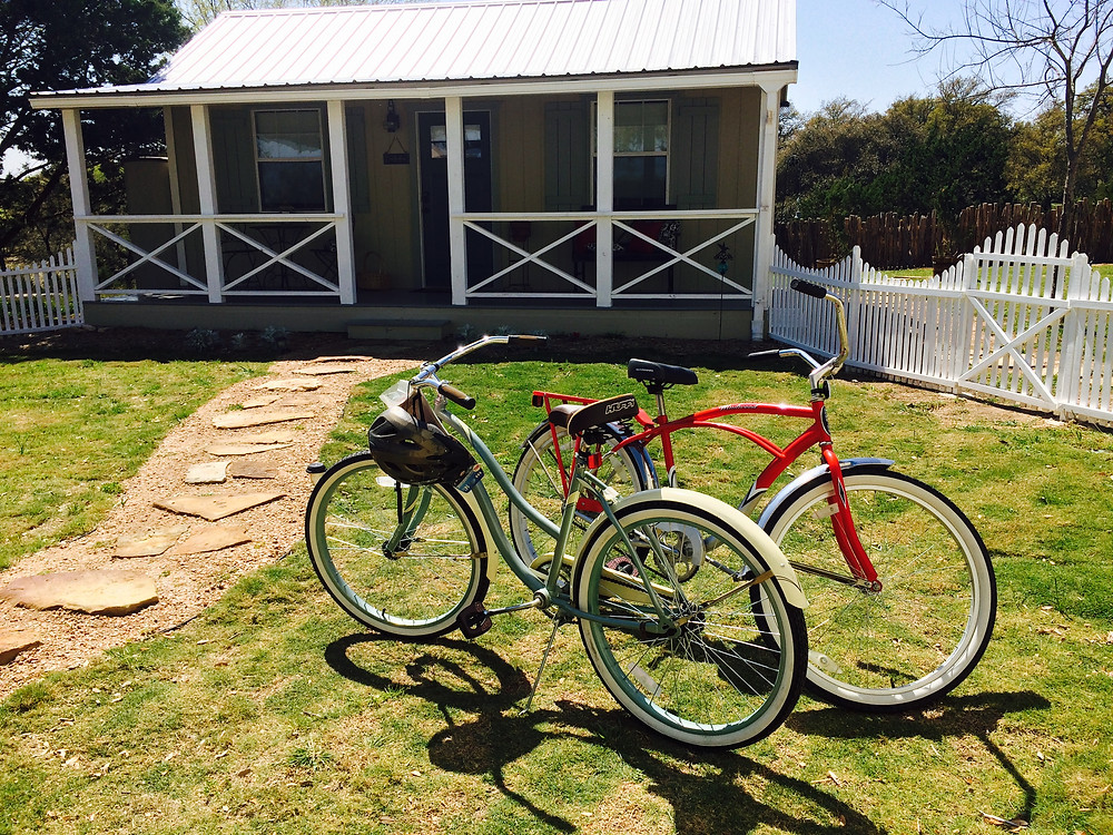 Borrow a bike and take a sweet ride when you stay with us!  Creek Road is a lovely place to ride, and a favorite among cyclists in the hill country.  Just let us know when you'd like to check one out!