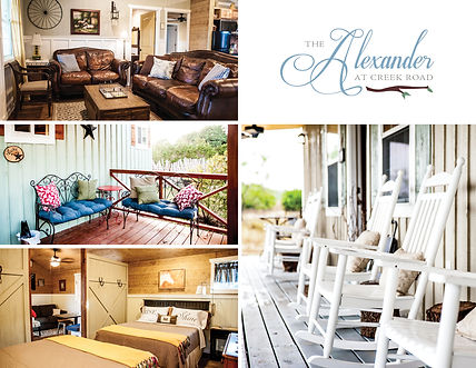 Wedding Venue with onsite Lodging: The Alexande at Creek Road in Dripping Springs, Texas is a premiere venue in the Wedding Capital of Texas in Dripping Springs! With onsite lodging for up to 40 guests, folks come from all over to make it a Wedding Weekend!  Near Camp Lucy, Tillie's, Lucky Arrow and Vista West, it's easy access to the hill country Wine Trails, Mercer Dance Hall, and Hudson's on Mercer. Our cottage vacation rentals are also great for Hill Country Family Reunions, Corporate Retreats, and an easy trip to Austin, Fredericksburg, and Wimberley.