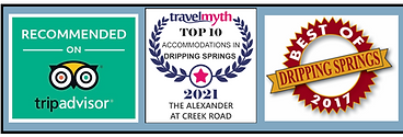 Travel Awards Trip Advisor and Best of Dripping Springs The Alexander at Creek Road