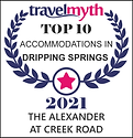 Award for Top Ten Accommodations in Dripping Springs, Texas by Travel Myth which includes Expedia, Booking.com and other Online Travel Sites