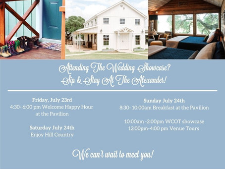 Attend the Wedding Showcase and Stay at The Alexander at Creek Road! Use Code: showcase