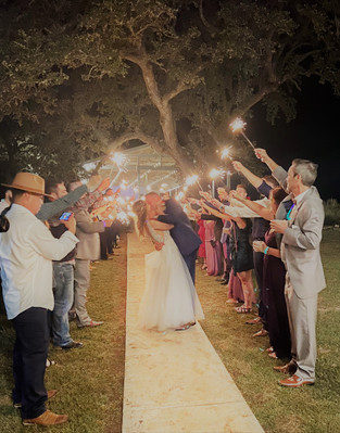 Sparkler Exit from Pavilion: The Alexander at Creek Road's open air venue space near Austin, Texas