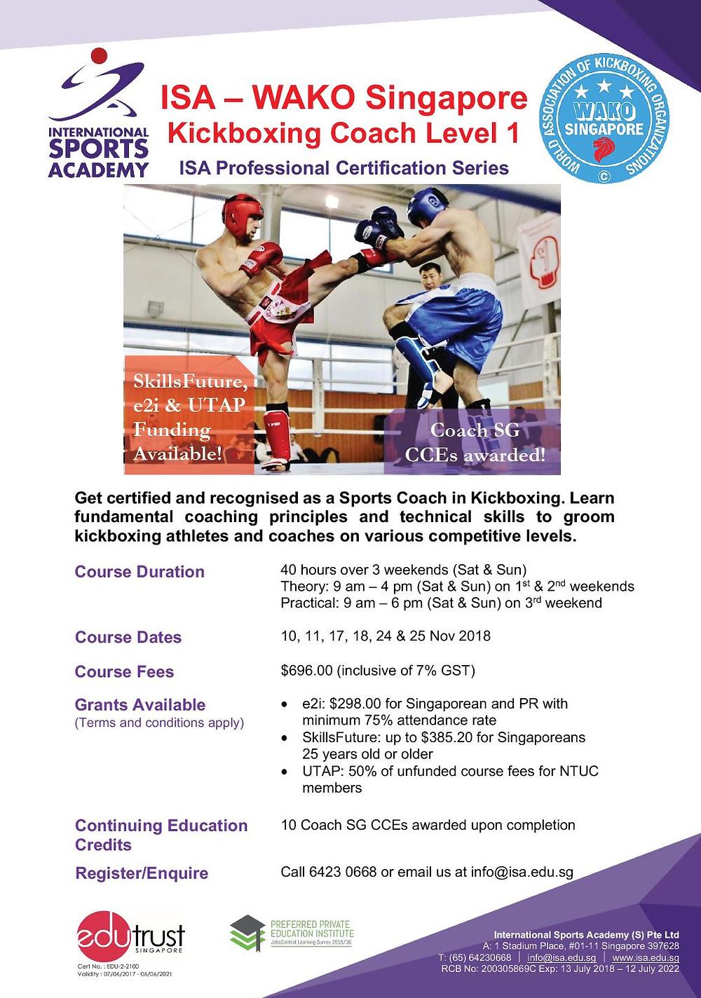 WAKO Singapore Kickboxing Coach Level 1