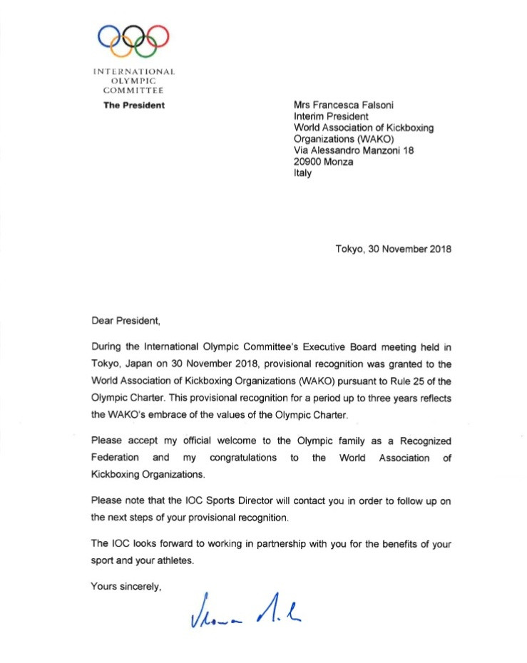 WAKO Recognition letter from Mr Thomas Bach, President of IOC (WAKO Kickboxing Singapore Blog)