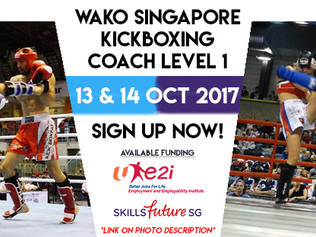 Singapore Kickboxing Coach Course: 50% Funding from SkillsFuture, 50% Funding from e2i