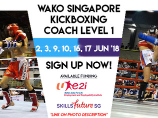 Singapore Kickboxing Coach Lvl 1: 50% Funding from SkillsFuture, 50% Funding from e2i