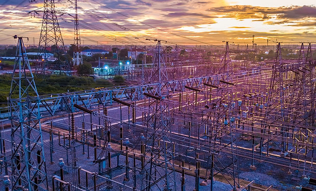 Aerial view of twilight of High voltage