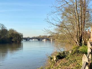 Hampton Court Bridge coming up