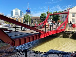 Modern lifting bridge allows craft to access the marina