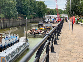 Path leaves the Thames & continues along the Brent. Thames Lock in the background
