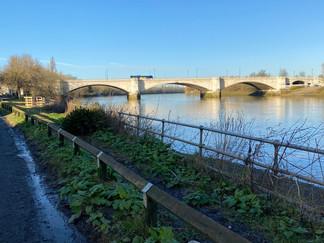 Chiswick Bridge coming up