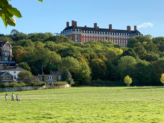 View from Petersham Meadows of The Star and Garter. Most recently a home for disabled ex-serviceman but now luxury apartments
