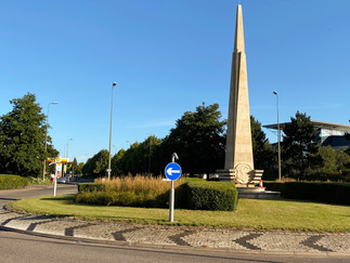 Morris monument erected in Oxford Business Park on the site of the former Morris Motors factory