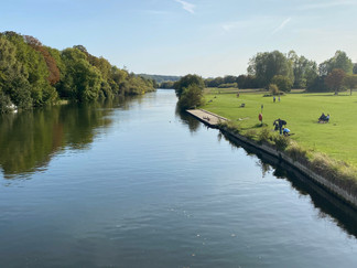 Looking downstream from the bridge at Pangbourne Meadow