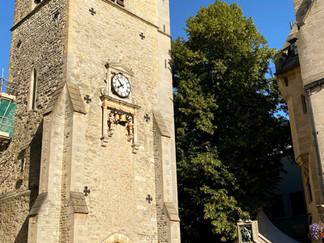 Carfax Tower. The tower is 74 feet tall and no building in central Oxford may be constructed higher than it