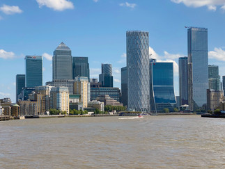 Looking back at the iconic Canary Wharf skyline