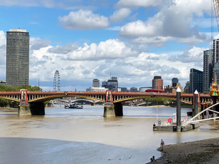 Looking back at Vauxhall Bridge. The London Eye now looks like it's on the north bank