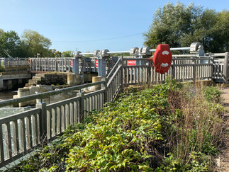 The path crosses the lock & weir here to the south bank