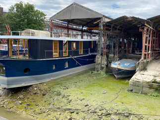 The path leaves the Brent at this boatyard