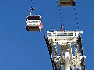 London's only cable car - opened in 2012. Parrt of the TFL network.