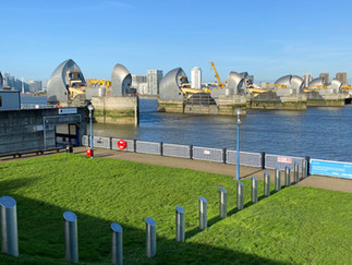 Thames Barrier with non-descript subway marking the start (or end!) of the trail