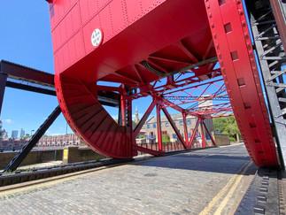The very striking bascule bridge across the entrance to Shadewll Basin
