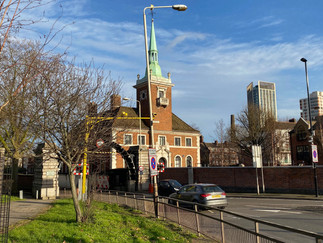 Entrance to Rotherhithe Tunnel & the Norweigan Church & Seamen's Mission