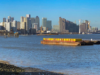 View across to Canary Wharf and the Royal Docks