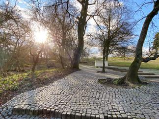 The path up to the JFK Memorial. 60000 individual blocks of Portuguese granite