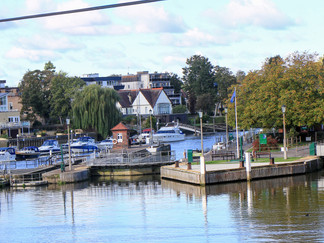 """The locks at Teddington. The Skiff Lock is the smallest on the Thames - so small it's referred to as """"The Coffin""""!"""