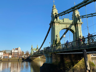 Hammersmith Bridge. Open only for pedestrians and cyclists at time of my walk. Now completlely closed