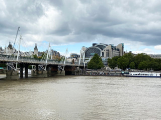 One of the Golden Jubilee bridges either side of the Hungerford Bridge