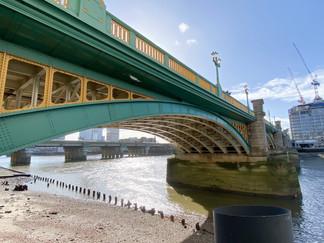 Southwark Bridge. Cannon Street Railway Bridge in background
