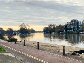 The path now continues alongside the road into Kingston-Upon-Thames