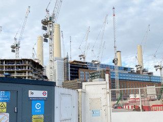 Battersea Power Station in January. Note the number of cranes