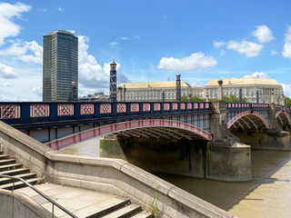 Lambeth Bridge. The tall building is Millbank Tower & next to this, the MI5 building