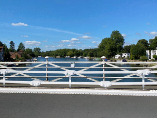 In the middle of Marlow Bridge looking upstream