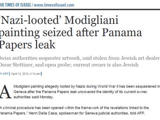 'Nazi-looted' Modigliani painting seized after Panama Papers leak