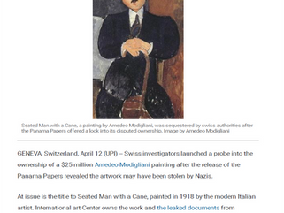Swiss investigators launched a probe into the ownership of a $25 million Amedeo Modigliani painting