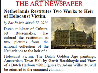 Netherlands Restitutes Two Works to Heir of Holocaust Victim.