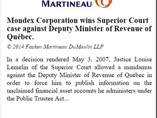 Mondex Corporation wins Superior Court case against Deputy Minister of Revenue of Québec.