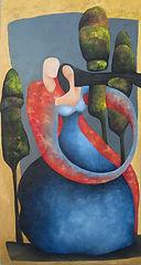 Mashya e Mashyana - Samira Hosseinzadeh - Olio su tela 92x90cm