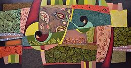 Musica in dinamiche verdi  - Samira Hosseinzadeh - Olio e tecnica mista su tela 77x152cm