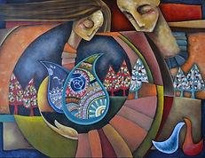 L'ASCESA - Samira Hosseinzadeh - Tecnica mista su tela - 60x50cm
